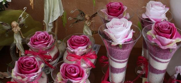 Bomboniere fiori bicchieri sabbia